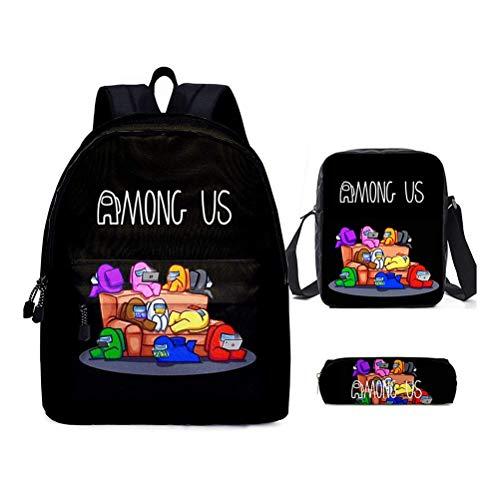 BSTOB Mochila Among-Us, Mochila con estampado de juegos con bolsa de almuerzo Estuche para lápices Mochilas escolares para niños Mochila para estudiantes para niñas Adolescentes Fans de juegos Regalos