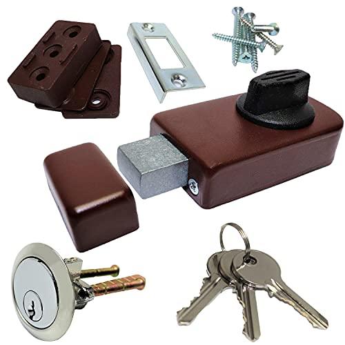 Cotarba Brown Front Door Lock Deadbolt with 3 Keys Chrome Rim Cylinder Nightlatch