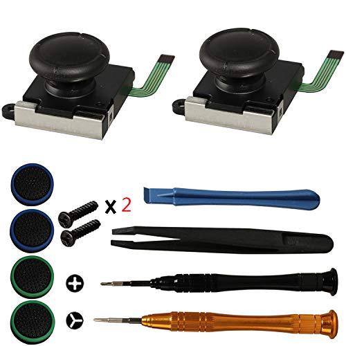 Timorn 3D Analog Joystick, Joystick Ersatzteile Thumb Stick Reparatursatz für Switch Joycon Controller mit Schraubendreher Pinzette Pry Tools und Thumbstick Kappen