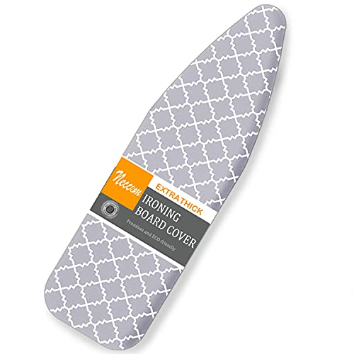 Scorch Resistance Ironing Board Cover and Pad Resists Scorching and Staining with Elastic Edge Heavy Duty Thick Ironing Padding Standard Size 15'x54' Cotton Ironing Board Covers