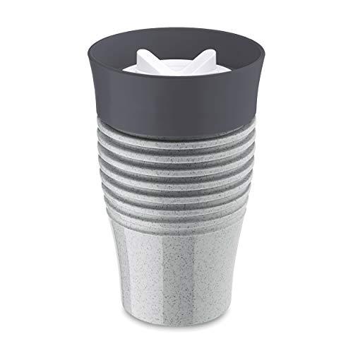 Koziol Thermobecher Safe To Go, Becher, Isolierbecher, Thermoplastischer Kunststoff, Organic Grey, 400 ml, 3797670