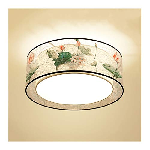 GPZ-iluminación de techo Luz de techo Nuevo estilo chino, E27 Lámparas de techo de tela de hierro, sala de estar Decoración Comedor Dormitorio Estudio Iluminación [Clase de eficiencia energética A ++]