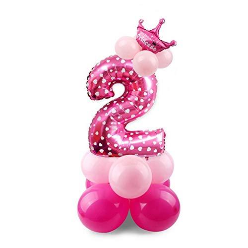 ZYCX123 Número 2 Globo de Aire Mylar Globo de látex Globos del Papel de Aluminio del Partido Globos de Fiesta de cumpleaños Corona Decoración Rosa