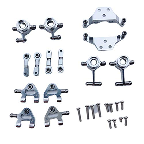 ACAMPTAR Metall Verbesserte Teile Lenkung Cup Swing Arm Shock Absorber Plate Set für Wltoys P929 P939 K969 K979 K989 K999 1/28 RC Auto, Silber