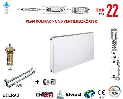 Planheizkörper Mittelanschluss Kompakt & Ventilheizkörper Typ 22 33 & Halter & Ventil NEU Typ22 900x400