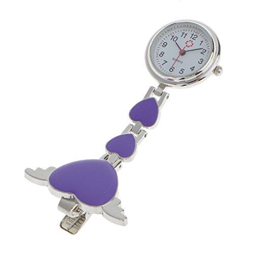 Baoblaze Metal Heart Enfermera Médica Quartz Tunic Broche con Clip Reloj De Bolsillo - Púrpura