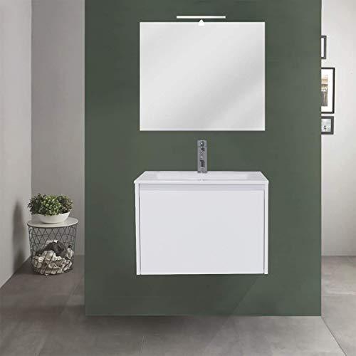 OrionShop Mobile Bagno Sospeso Leda da 60cm Bianco Opaco con Lavabo Specchio e Lampada LED Inclusi