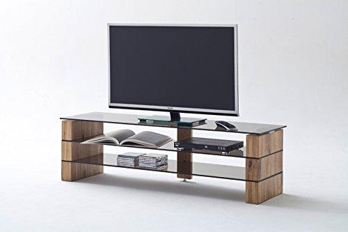 lifestyle4living TV-Rack, TV-Board, Fernsehtisch, TV-Schrank, TV-Bank, TV-Unterschrank, Eiche, massiv, Glas, grau/braun, Phonomöbel, TV-Ständer, TV-Stand
