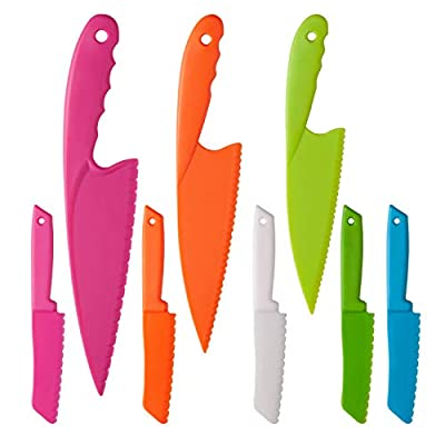 Eeoyu 8 Pieces Kid Plastic Kitchen Knife Set, Toddler's Cooking Knives in 4 Sizes and Multiple Colour, Children's Safe Cooking Chef Nylon Knives for Fruit, Bread, Cake, Salad, Lettuce Knife (Color 1)