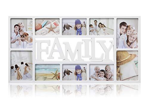 ARPAN Family 10 Multi Aperture Photo Picture Frame - Holds 6 X 6''X4'' Photos, 4 X 5''X7'' Photos - White