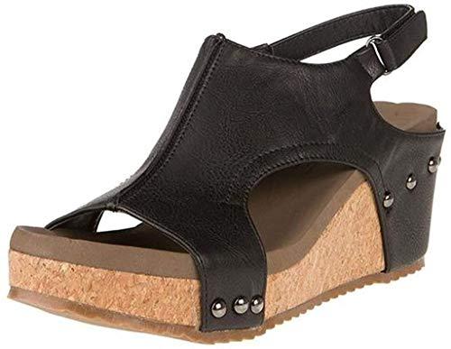 Corkys Footwear Women's Mulan Wedge Sandal Shoe (9, Black Distressed)