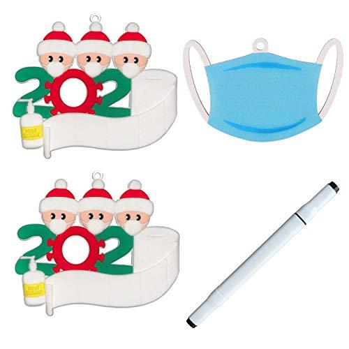 OVELO 2020 Decorazioni Natalizie, Decorazioni Albero di Natale Personalizzate Sopravvissuto Ornamenti Natalizi per Ornamenti Albero Natale, Decorazioni Natalizie per la Casa Famiglia di 3 [4 PCS]