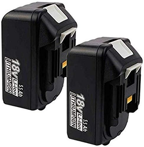 Juego de 2 baterías de repuesto BL1850 para Makita 18 V 5,5 Ah, batería de ion de litio compatible con Makita BL1850B BL1850 BL1860B BL1860 BL1840B BL1840 BL1830 BL1835 BL1845 194204-5 LXT-400