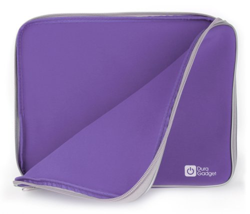 DURAGADGET Purple Water & Shock Resistant Soft Case With Dual Zips For Dell Inspiron 15 i15RV-6144BLK 15.6-Inch Touchscreen Laptop