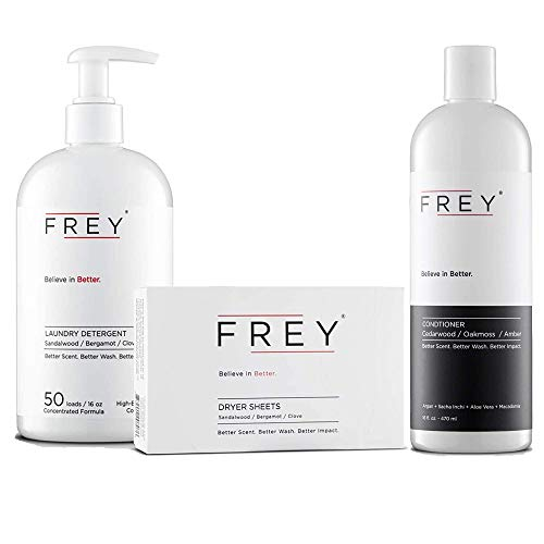 FREY Concentrated Washing Detergent + Natural Dryer Sheets (Classic Package) & Argan Oil Hair Conditioner Bundle