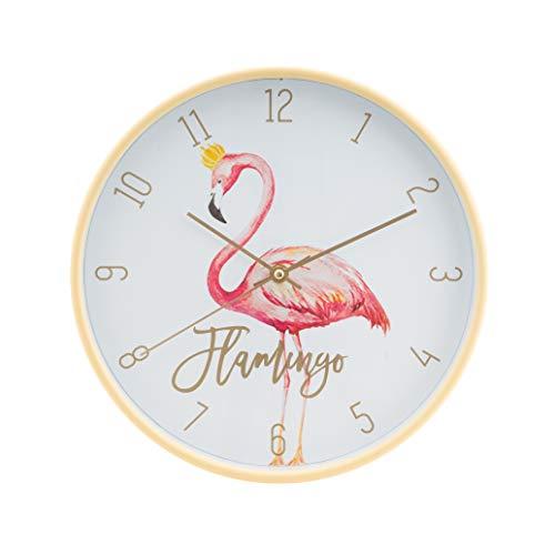 LUUK LIFESTYLE Reloj de Pared de Cuarzo Flamenco, Moderno y Simple con Segunda Mano, Cuarto de niños, Reloj de Cocina, Reloj de Pared de Sala Vintage, Oro/Amarillo