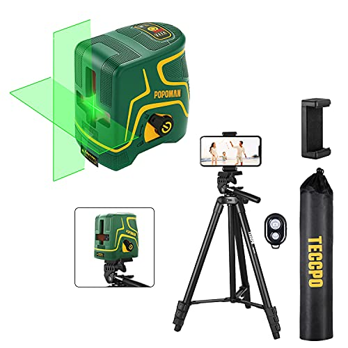 TECCPO Lightweight Phone Tripod Stand, Aluminum DSLR Travel Tripod, Bluetooth Remote,Portable Universal Clip + Laser Level, 147ft, Self Leveling, Green Cross line laser, Pulse Mode, Rechargeable
