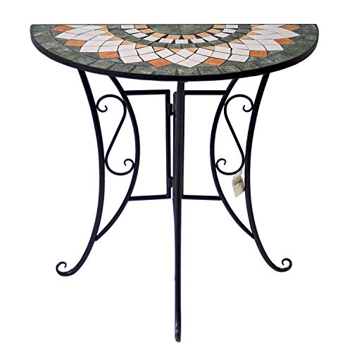 Wohaga Mosaiktisch halbrund 70x35cm Balkontisch Gartentisch Beistelltisch Bistrotisch Eisen Keramik Schwarz/Grau/Weiß/Terrakotta
