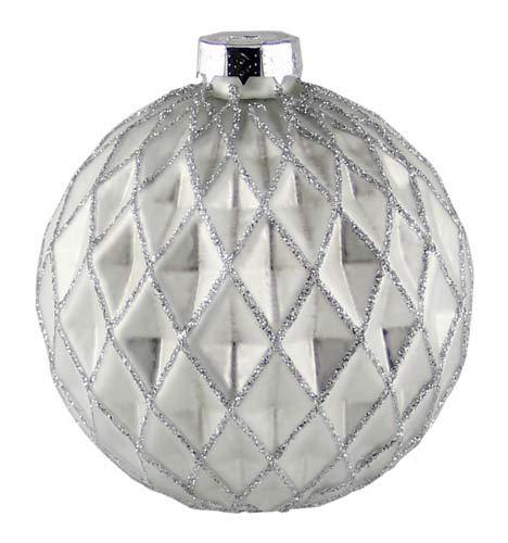 Kaheku Weihnachts-Baumkugel Pelmo matt weiß silberglitter Rauten Relief nordisch d8 cm