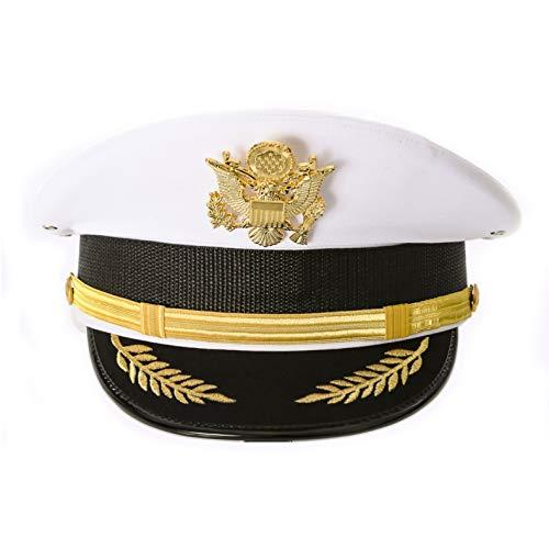 Ferrecci White Captain Hat for Men Cadet Sailor Hat Women Yacht Captain Hat (Large)