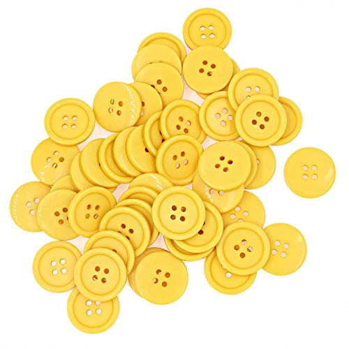 Leekayer 1Inch (25mm) Sewing Flatback Resin Buttons for DIY Craft Yellow Pack of 50 Pcs