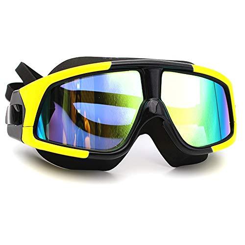 L.L.QYL Schwimmbrille Schwimmbrille Große Linse Anti Fog Keine undichte Schwimmbrille UV-Schutz mit weicher Silikon-Nasenbrücke for Erwachsene Schwimmbrille (Color : Gelb, Size : Kostenlos)