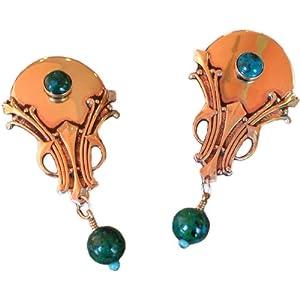 Chrysocolla Antique Brass Elaborate Art Deco Clip Earrings