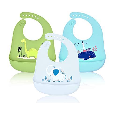 Baby Bibs Siliconen, Baby Slabbetjes Waterdichte Siliconen Bibs Feeding Animal Roll Up Unisex Kinder Makkelijk Schoon te Vegen Schone Zak Voedselopvanger Spenen Grijs groen -3 Pack