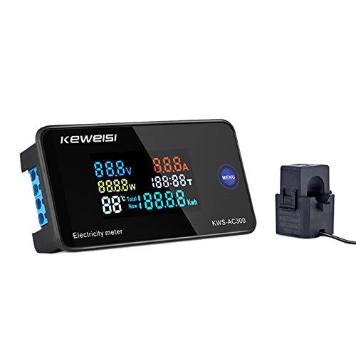 AC 6in1 110V 50V~300V 100A Digital Ampermeter Power Energy Voltmeter Ammeter Watt KWH Temperature Voltage Meter Time Multimeter Tester Electricity Usage Monitor