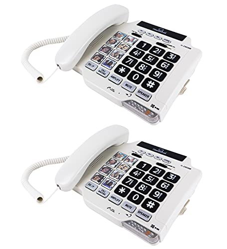 ClearSounds CSC500 Amplified Landline Phone with Speakerphone and Photo Frame Buttons - Up to 30dB Amplification (2-Pack)