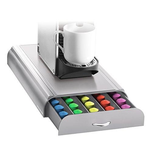 Mind Reader 'Anchor' per 50 capsule Nespresso, cassetto portaoggetti per cialde di caffè color argento