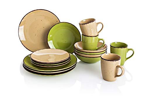 Wereldfoto koffie en tafelservies Puro 16-delig van fijnsteengoed geschikt voor vaatwasser en magnetron