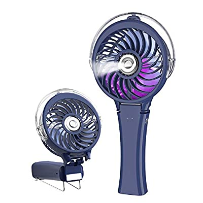 HandFan Small Handheld Misting Fan Portable Mister Fan with 7 Colorful LED Nightlights Battery Operated Personal Fan Mister 180° Foldable Mist Fan Rechargeable Water Spray Fan Humidifier for Disney Land Travel Wedding Ball Games