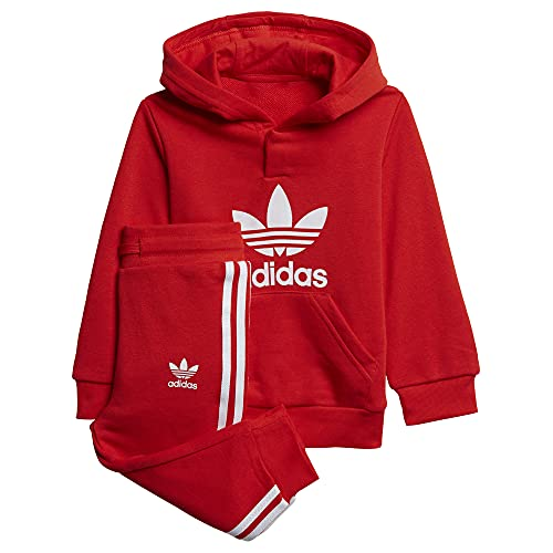 adidas Hoodie Set Tracksuit, Red/White, 2-3A Unisex-Child