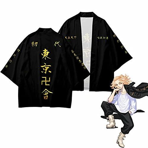 Anime Tokyo Revengers Coat Cape, Ryuguji Ken Disfraz de Cosplay Black Cool...
