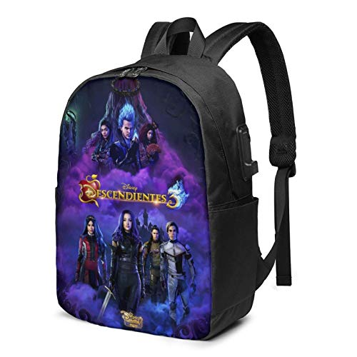 Kids 17 Inch Travel Computer Backpack Foldable Vintage American Musical Fantasy Movie Bookbag Backpack with USB Charging/Headphone Port, Unisex-Adult High School Vacation Handbags Laptop Backpack