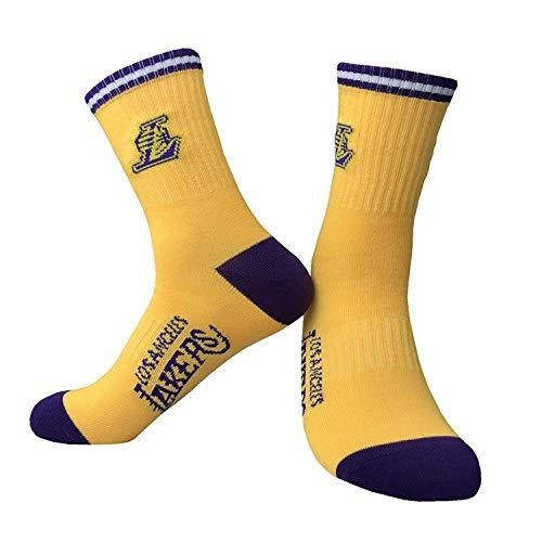 WLDLI Calze da basket calze sportive da uomo, calzini sportivi da allenamento, equipaggiamento da running Lakers Warriors Rockets Indossano calze di cotone confortevoli ( Color : Lakers Yellow )
