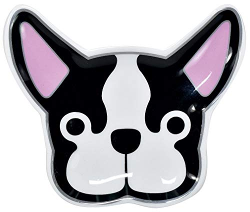 iscream French Bulldog Shaped 4.75' x 4.25' Silver Accent Ceramic Trinket Tray