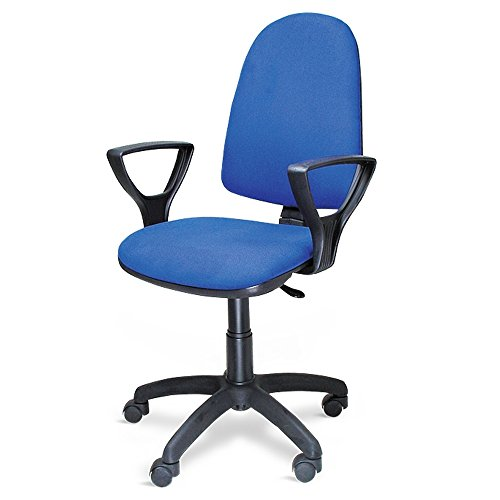 METALCHAISE Poltrona Sedia Ufficio Direzionale Torino, Tessuto, Blu, Standard