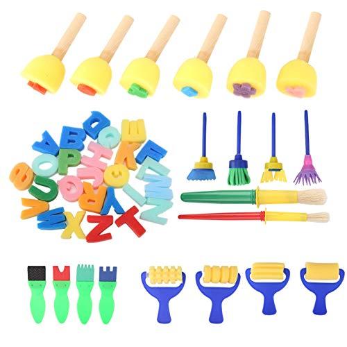 Mango de plástico duradero, 46 piezas de cepillo de esponja para manualidades, con muchos patrones hermosos,