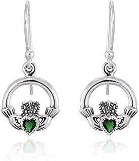 925 Sterling Silver Celtic Claddagh with Green Cubic Zirconia Dangle Earrings