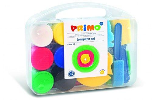 Primo 824VTLP Schulmalfarbe in Töpfchen, 6 Farben. Mehrzweckkoffer, 2 Schwämmen, 3 Schwammpinsel, 1 Jumbo Pinsel, 1 Kunststoffunterlage, Multicolour
