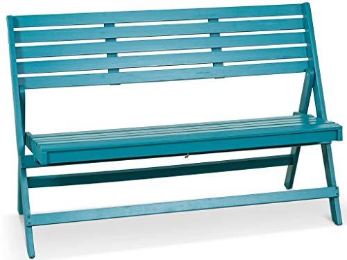 Lanterfant – Gartenbank Cees, Klappbar, Akazien Holz, Lackiert, Erhältlich in Zwei Farben, Petrol Blau