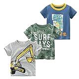 snyemio maglietta manica corta cotone bambino t-shirt cartone animato estate 1-6 anni pacco da 3, verde, 98-104 (etichetta 100)