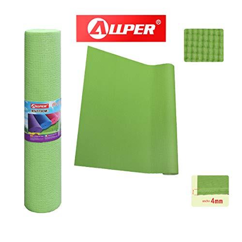 ALLPER Esterilla para Yoga Universal, Multiusos de Alta Densidad, Antideslizante, TAMAÑO: 173 x 61 x 0,4 cm. Color Verde.