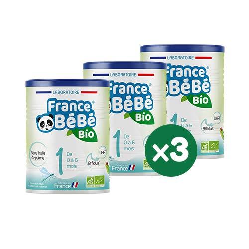 FRANCE BéBé BIO - Lait infantile pour bébé 1er âge en poudre 0 à 6 mois - Lait fabriqué en France - BIFIDUS - SANS HUILE DE PALME - Pack 3 boîtes de 400g