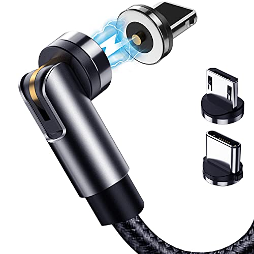 Terasako Magnetic Charging Cable 5-Pack (3/3/6/6/10FT) - 540° Rotating Magnetic Phone Charger Cable with LED Light - 90° Angle Connector, Nylon-Braided Cords (Black)
