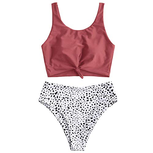 ZAFUL Women's Scoop Neck Tropical Leaf Knotted Two Pieces Tankini Set Swimsuit (Multi-i Cherry Red, L)