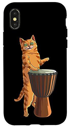 iPhone X/XS Funny Cat Playing Djembe Gift | Cute Kitten Musician Fan Case