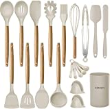 KINFAYV Silicone Cooking Utensils Kitchen Utensil Set, 21 PCS Wooden Handle Nontoxic BPA Free...